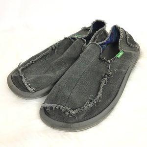 Sanuk Men's Sz 13 Gray Distressed Surfer Shoes